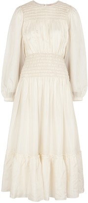 Tory Burch Ivory smocked silk midi dress