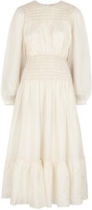 Tory Burch Ivory Smocked Silk Midi Dress