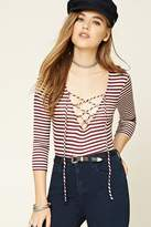 Forever 21 FOREVER 21+ Lace-Front Stripe Bodysuit