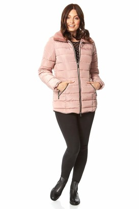 Roman Originals Women Padded Parka Coat Ladies Puffer Quilted Bubble Jacket Autumn Winter Waterproof Rainproof Wind Resistant Thermal Fitted Puffa Faux Fur Trim Concealed Hood - Light Pink - Size 16