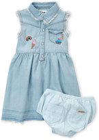 Hudson Infant Girls) Two-Piece Denim Patch Dress & Shorts Set