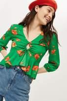 Topshop Floral print keyhole blouse