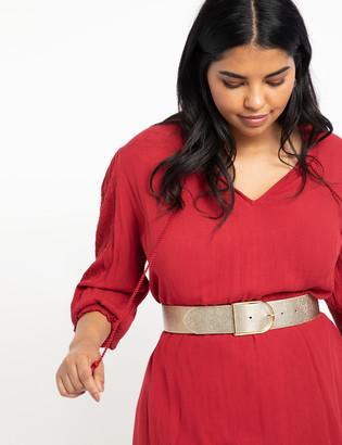 ELOQUII Metallic Textured Buckle Belt
