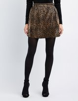 Charlotte Russe Leopard Micro Pleated Skater Skirt