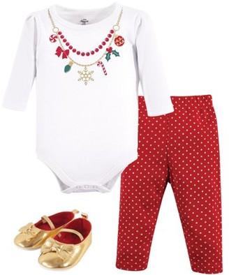 Little Treasures Little Treasure Baby Girl Bodysuit, Pants & Shoes, 3pc Outfit Set