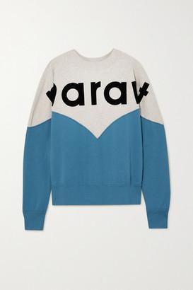 Etoile Isabel Marant Houston Flocked Color-block Cotton-blend Jersey Sweatshirt - Blue