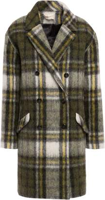 BA&SH Clock Double-breasted Checked Brushed-felt Coat