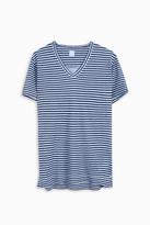 120% Lino Striped V-Neck T-Shirt