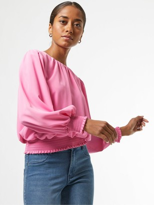 Dorothy Perkins Petite Shirred Hem Top - Pink