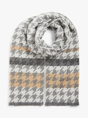 John Lewis & Partners Double Face Large Dogtooth Scarf, Grey Mix