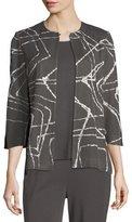 Misook Spiderweb 3/4-Sleeve Jacket, Plus Size