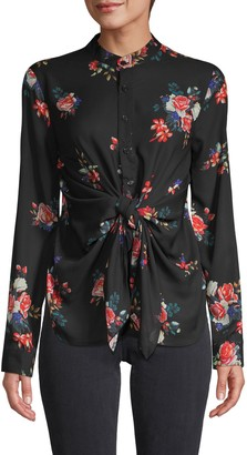 Central Park West Sanctuary Knotted-Waist Floral Blouse