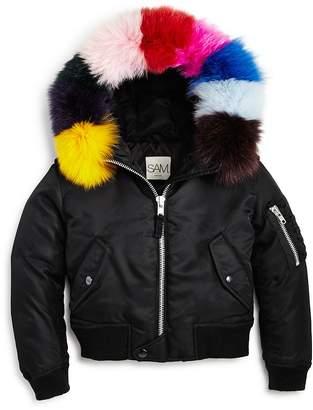 SAM. Girls' Jenny Rainbow Fur-Trimmed Jacket - Big Kid