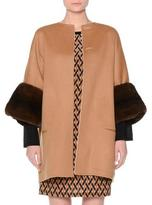 Agnona Reversible Wool Coat w/Mink Fur Cuffs, Tobacco/Ivory