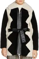 Maje Gillian Two-Tone Shearling Coat