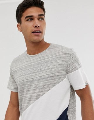 Jack and Jones Originals T-Shirt With Cut And Sew Block Panels