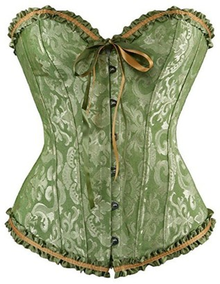 Womens Brocade Satin Floral Lace up Boned Corset Overbust Waist Slimming Bustier
