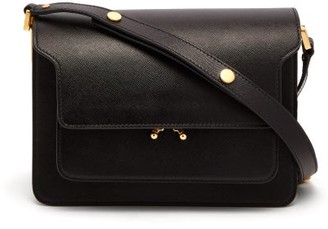 Marni Trunk Medium Saffiano Leather Bag - Black
