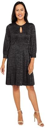 Calvin Klein Glitter Jersey A-Line with Keyhole (Black) Women's Dress