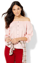 New York & Co. Soho Off-The-Shoulder Blouse - Pink Shell