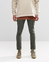 Asos Super Skinny Chinos With Oil Wash In Green