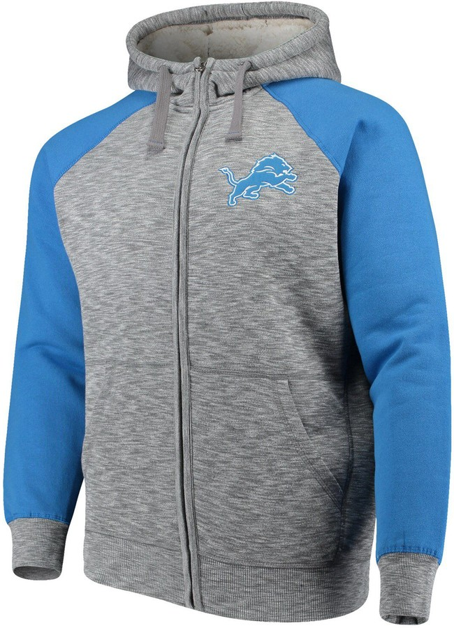 sale retailer fb310 3f449 G Iii Men's G-III Sports by Carl Banks Heathered Gray/Blue Detroit Lions  Turning Point Sherpa Lined Full-Zip Jacket