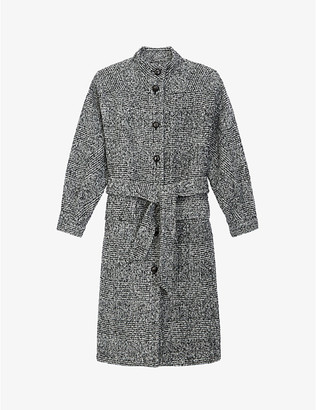 The Kooples Checked single-breasted wool-blend coat