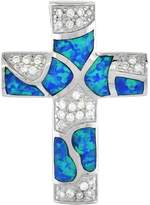 Sabrina Silver Sterling Silver Cross Pendant Synthetic Opal Inlay & CZ stones, 1 1/4 inch Tall