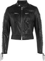 DSQUARED2 Leather Jacket with Lace-up Sleeves