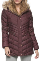 Marc New York Raleigh Chevron Quilt Down Jacket with Faux Fur Trim
