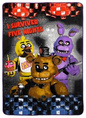 Five Nights At Freddy's Five Nights at Freddy?s Plush Blanket, Kids Bedding, Freddy Fazbear, Chica and Bonnie