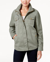 Style&Co. Style & Co Petite Cotton Embroidered-Back Utility Jacket, Only at Macy's