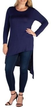 24seven Comfort Apparel Women's Plus Size Asymmetrical Tunic Top