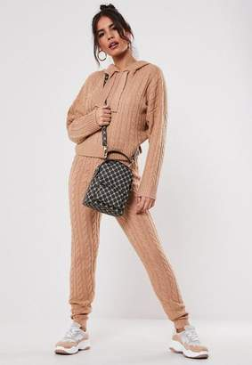 Missguided Premium Camel Co Ord Cable Knit Leggings