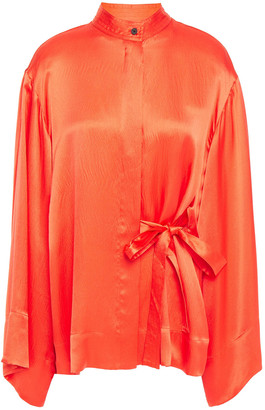 McQ Belted Hammered Silk-satin Blouse