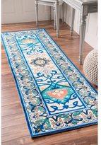 nuLoom Modern Persian Printed Floral Blue Runner Rug (2'6 x 8')