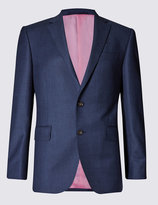 Marks And Spencer Blue Tailored Fit Wool Suit