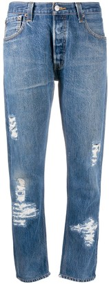 RE/DONE Distressed Straight Leg Trousers