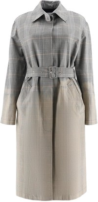 MSGM SHADED TARTAN TRENCH COAT 38 Grey, Beige, White Cotton
