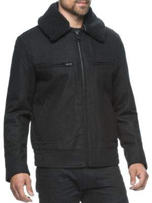 Andrew Marc Faux Fur Collar Concord Bomber Jacket