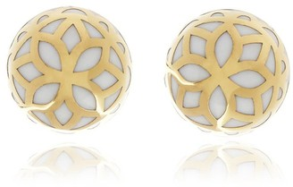 Georgina Jewelry Gold White Signature Flower Ball Earrings