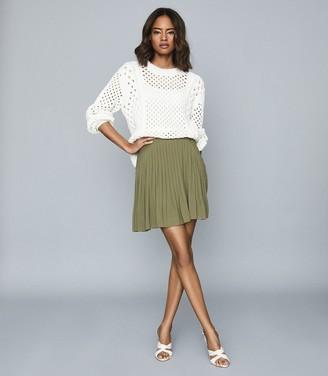 Reiss Orelle - Pleated Mini Skirt in Green