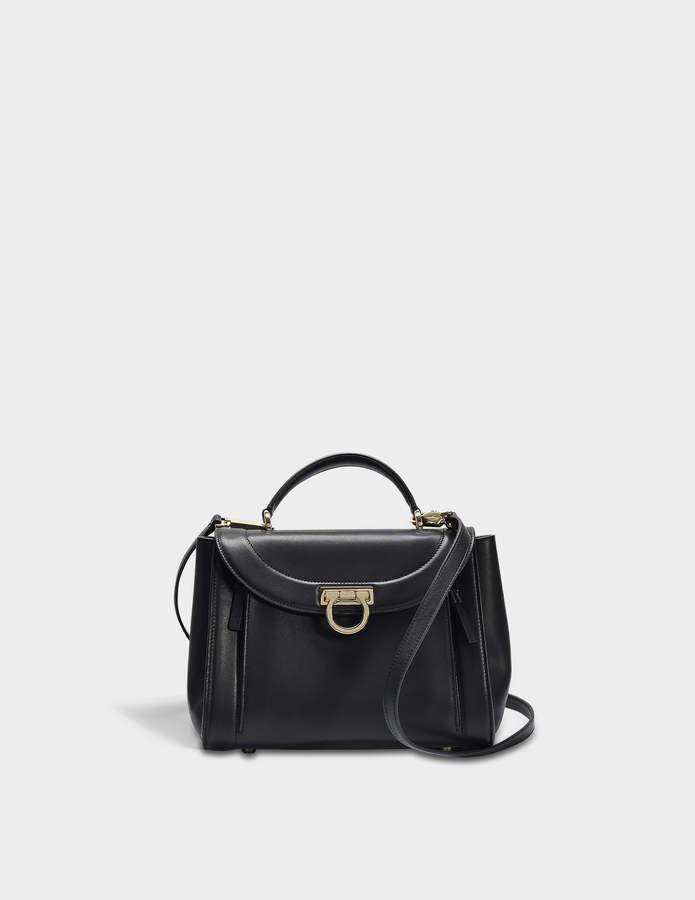 Salvatore Ferragamo Sofia Rainbow Small Bag in Black Saddle Soft Leather