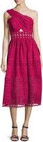 Self-Portrait One-Shoulder Cutout Midi Dress, Raspberry Red