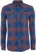 G Star Men's G-Star Long-Sleeve Indigo West Flannel Check Shirt