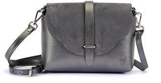 Atelier Hiva Midi Harmonia Leather Bag Metallic Anthracite & Anthracite Suede