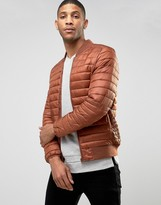 Asos Quilted Bomber Jacket in Rust