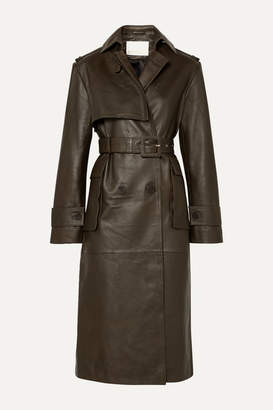 Remain Birger Christensen REMAIN Birger Christensen - Pirello Belted Leather Trench Coat - Army green