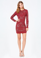 Bebe Embellished Jacquard Dress