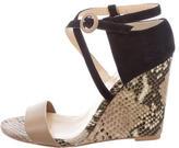 Eugenia Kim Snakeskin-Trimmed Wedge Sandals